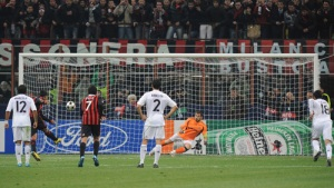 Ronaldinho of AC Milan scores a penalty during the UEFA Champions League group C match between AC Milan and Real Madrid at the Stadio Giuseppe Meazza on November 3, 2009 in Milan, Italy.  picture appears  courtesy of getty images/ Massimo  Cebrelli   ....................