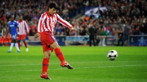 Sergie Aguero scores  a superb  goal against Chelsea  for Atletico  Madrid  in  the  group phase  game in the  Champions League competition.   picture  appears  courtesy of getty images/ Arturo Benitez  .....................