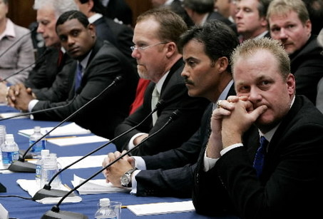 The Four Horsemen of  the Apocalypse  ?   From left to  right ,  Sammy  Sosa  ,  Mark McGwire ,   Rafael  Palmeiro and   Curt Schilling.   The  former  Phillies' ace   was more like  an  audition  for    position within  the  House  as  he  skirted  around  many  of the  questions  asked  of  him  at  the  time.         picture appears courtesy of  ap/photo/ Scott McIntosh  ....................