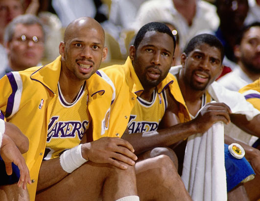 The Holy  Trinity  of  The  Showtime  Lakers  Kareem ,  Magic  and   Worthy