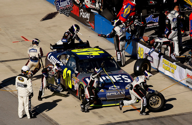 The Lowes' Chevrolet (#48)  of  points'  leader  Jimmie Johnson  pits  during  the  NASCAR Sprint  Cup  event   Amp  Energy  500  from  Talladega  Superspeedway , in Alabama ,.     picture  appears  courtesy of getty images/ Chris  Graythern  .............
