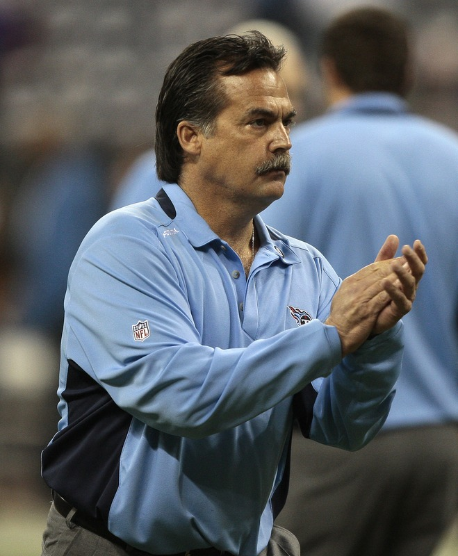 Tennessee Titans head coach Jeff Fisher at Reliant Stadium on November 23, 2009 in Houston, Texas.    picture appears courtesy of   Getty  Images/ Bob  Levey  ...........