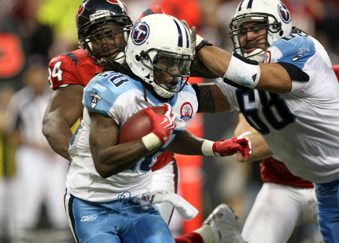 Running back Chris Johnson (28) of the Tennessee Titans carries the ball against the Houston Texans on November 23, 2009  at Reliant Stadium in Houston, Texas.  picture appears courtesy of   Getty Images/ Stephen  Dunn ..............