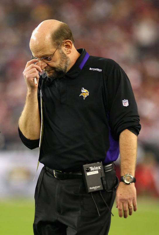 Glendale , Az,. December 6th 2009. Head coach Brad Childress of the Minnesota Vikings reacts as he walks the sidelines during the NFL game against the Arizona Cardinals at the University of Phoenix Stadium on December 6, 2009 in Glendale, Arizona.  The Cardinals defeated the Vikings 30-17. picture appears courtesy  of  Getty Images/ Christian  Petersen .....