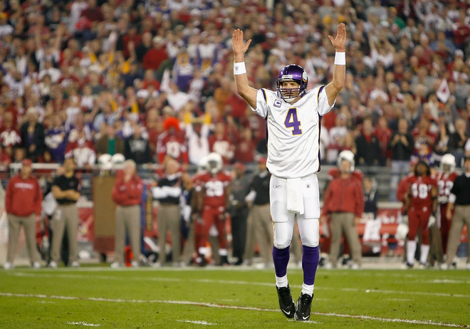 Quarterback Brett Favre (#4) of the Minnesota Vikings celebrates after a first quarter touchdown during the NFL game against the Arizona Cardinals at the University of Phoenix Stadium on December 6, 2009 in Glendale, Arizona.  The Cardinals defeated the Vikings 30-17.  picture appears courtesy of  Getty Images/ Christian  Petersen ............