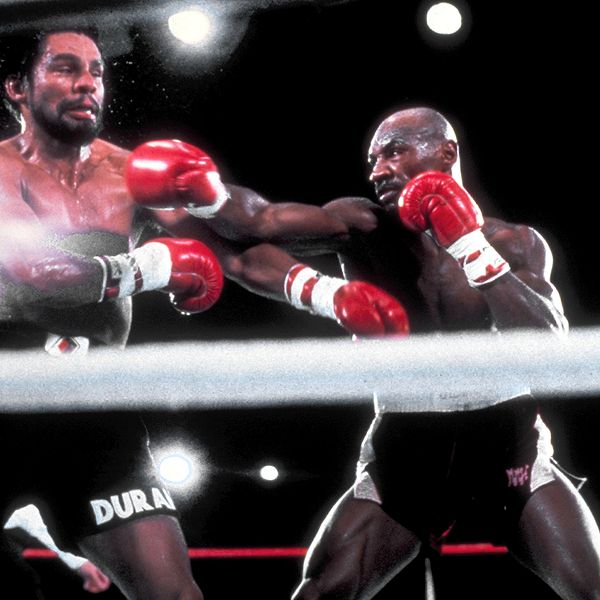 Hagler seen here fighting multiple world titlist Roberto Duran.  The Panamanian fighter , Duran , would  challenge  Hagler , the  title holder  for the undisputed middleweight  crown at  Caesars Palace, Las Nevada in November, 1983.  Hagler  would  end up winning  the bout with a  unanimous 12 round decision over the challenger.   picture appears  courtesy  of espn.com/ap/ Phil Roache ....