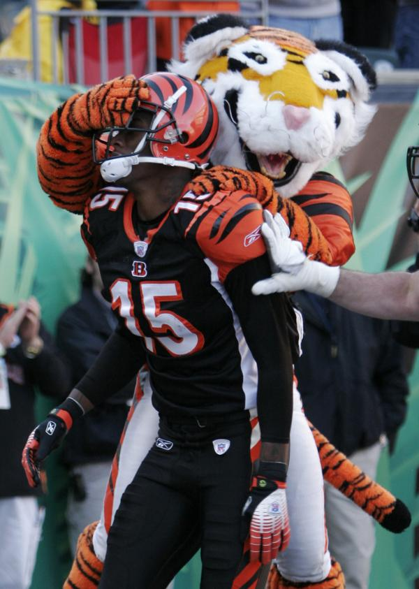 Cincinnati Bengals receiver Chris Henry (15) is congratulated by the team mascot after scoring a touchdown against the Atlanta Falcons in the NFL football game, Sunday, Oct. 29, 2006, in Cincinnati. (AP Photo/David Kohl