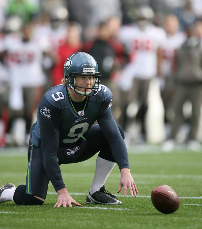 Place holder Jon Ryan #9 of the Seattle Seahawks fumbles the snap on a field goal attempt against the Tampa Bay Buccaneers on December 20, 2009 at Qwest Field in Seattle, Washington. The Buccaneers defeated the Seahawks 24-7. picture appears courtesy of Getty Images/  Otto Greule Jr .........