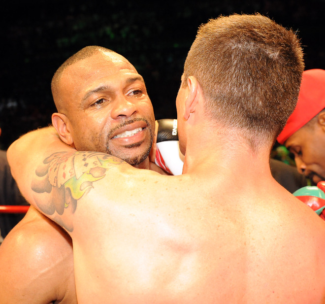 Four-division world champion Roy Jones Jnr (L) of the US embraces Australian titleholder Danny Green (R) after their IBO cruiserweight World Title bout in Sydney on December 2, 2009. Green took just 122 seconds to TKO Jones in the first round.  AFP/Getty Images/Torsten Blackwood ...........