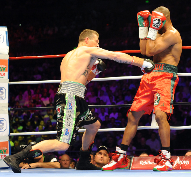 Australian titleholder Danny Green (L) lands a punch on four-division world champion Roy Jones Jnr (R) of the US during their IBO cruiserweight World Title bout in Sydney on December 2, 2009. Green took just 122 seconds to TKO Jones in the first round.  picture appears  courtesy  of  AFP/Getty Images/  Torsten  Blackwood  ................