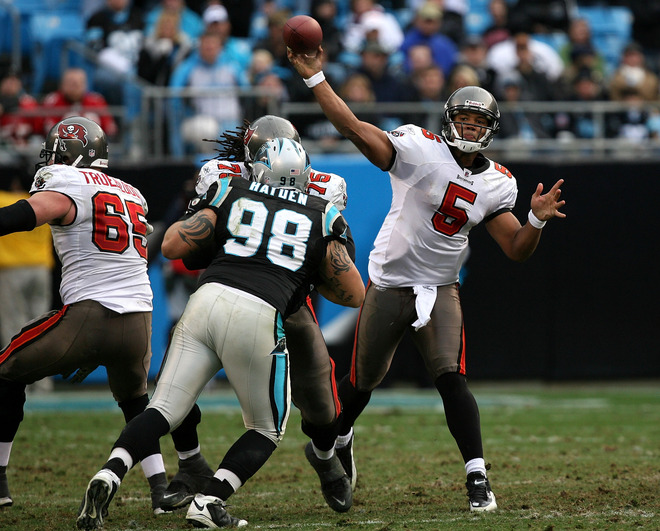Charlotte, NC- December 6th :  Josh Freeman (#5) of the Tampa Bay Buccaneers drops back to pass against the Carolina Panthers at Bank of America Stadium on December 6, 2009 in Charlotte, North Carolina. picture appears courtesy of getty images/ Streeter  Lecka .......