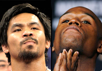 Manny Pacquiao (left)  and Floyd Mayweather Jr (right), the two are scheduled to meet in a  higly anticipated welterweight title  bout in the early part  of 2010. It'll be the fist major title fight of the  decade.  picture appears courtesy of ap/photo/ A  Randolph ..................