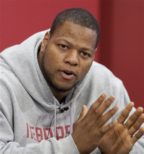 Heisman Trophy candidate and  Nebraska defensive tackle, Ndamukong Suh, speaks to reporters during a news conference in Lincoln, Neb., on Tuesday, Dec. 1, 2009. Nebraska plays Texas in the Big 12 championship college football game on Saturday.  picture appears courtesy of ap/photo/ Nati Harnik  ......