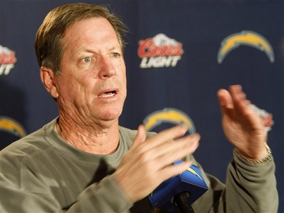 San Diego Chargers NFL football coach Norv Turner gestures while talking about calling a timeout during a news conference Monday, Dec. 21, 2009 in San Diego. The San Diego Chargers clinched a playoff spot while still playing the Cincinnati Bengals on Sunday, then secured the AFC West title with a 27-24 victory. picture appears  courtesy of ap/photo/Lenny Ignelzi.....