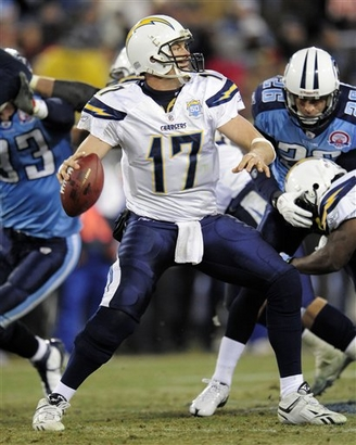 San Diego Chargers quarterback Philip Rivers (17) passes against the Tennessee Titans in the third quarter of an NFL football game on Friday, Dec. 25, 2009, in Nashville, Tenn.  picture appears courtesy of ap/photo/ John  Russell  ................