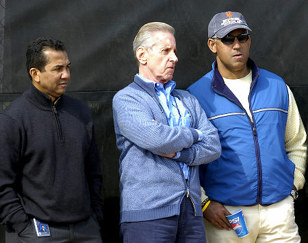 Taken  from last year the  Mets' front office hierarchy  from  left  to right  , Senior VP Player Development  ,  Tony Bernard ,  team owner  , Fred  Wilpon and   General Manager, Omar Minaya.   Having   spent  in  excess  of  $450 million  dollars   alone  in  signing  free agents  over  the  last  three  and  half  years  .  The  New  York Mets  have  had  little   show in  return   for  the  vast   financial  outlay  made  to  acquire  those players.  Albeit that they're   now  charging  premium  prices   for their  monstrous  new  venue  Citi Field   in  New  York   City.  The  cost of  which  was  in  excess  of   $ 675  million  and  was  totally   financed  with  public  money   via  bonds and  the  introduction  of several  tax increases and  new  service  charges  initiated  by  incumbent  Mayor ,  Michael Bloomberg.    picture   appears   courtesy  of  New York Daily News/ News/  Terry  Simmons   ........................