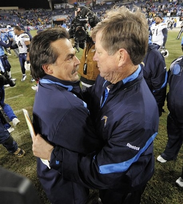 Tennessee Titans head coach Jeff Fisher, left, meets San Diego Chargers head coach Norv Turner on the field after  the Chargers won 42-17 in an NFL football game on Friday, Dec. 25, 2009, in Nashville, Tenn. picture appears courtesy of ap/photo/ John Russell .....