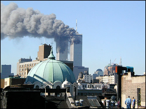 Twin towers  alight  on  Tuesday  September  11th 2001.  My own thoughts  at the time were  of shock  , horror  and  amazement that  such a  thing  could happen.  And  then asking myself   who'd  be  brazen   enough to  carry  out  such  a heinous  crime  resulting in the  loss  over  3,000  innocent  lives ? In  the end  the  words  'Al  Qaeda'  held    a new  meaning  for us all.       picture appears courtesy  of  bethcarey.com/9/11/01 ..................