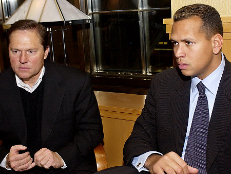 Uber-sports agent Scott Boras,  seen here  with perhaps  his  most famous  client ,  Yankees'  All  Star  slugger  and 3rd baseman,  Alex  Rodriguez.    Boras   represents   several  other   high  profiled  clients  in the  world  of  baseball ,  including  Daisuke  Matsuzaka,  Johnny  Damon,  Manny  Ramirez,  Mark  Teixeira,   C.C. Sabathia  ,  Barry  Zito  and   a slew of  other players.   General  Managers  around the  league   have   stated  that  Boras  is  a  hard   task master  when  it  comes  to  negotiating  on  his  clients' behalf.    But  time  and  time again  they   continue  to 'cave in'  and  acquiesce  to  his  demands.        picture  appears   courtesy  of  ap/photo/Keith  Willens   ...................