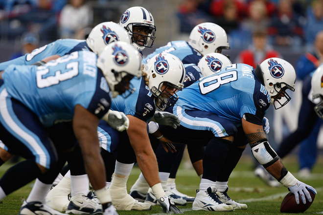 Vince Young (10) of the Tennessee Titans calls a play against the Arizona Cardinals during their game at LP Field on November 29, 2009 in Nashville, Tennessee. picture appears courtesy of Getty Images/ Streeter Lecka   ..............