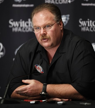 Philadelphia Eagles head coach Andy Reid addresses the media during a news conference at the team's NFL football training facility in Philadelphia, Monday, Jan. 11, 2010.  picture appears courtesy  of  ap/photo/ Matt Rourke .......