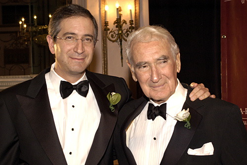 Brian Roberts (left) <strong>  Chairman & CEO of  Comcast Inc </strong> seen  here   with  his   father  , Ralph  Roberts  <strong>  President  and founder  of  the  company </strong>   that  has  become  the  nation's  largest  cable  provider  and   company.    Comcast  recently  bought  <strong> NBC Universal   from  GE (General  Electric )  for  $30 billion  </strong > of  which  the  deal  will be   finalized  later  on this   year.  The elder  Roberts  built the  company  up  from  a  small cable   provider  into a  <strong> multi-billion  dollar  company  whose projected   earnings are expected  top  <strong> $2.55 billion </strong> for  2009.  photo  appears  courtesy  of  <strong> Getty  Images/ Paul  Fowler  .........</strong>