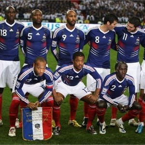 The  French  national  soccer  team   seen  here   prior  to  a  World Cup  qualifying   game.  Bottom  left  corner  is  Thierry  Henry (12) ,  who  was  the  center  of  the   controversy   concerning  his   actions  in  the  World   Cup  qualifying   game  against  Ireland.     photo  appears   courtesy  of  Getty  Images/   Pascal   Bouzonne  ....................