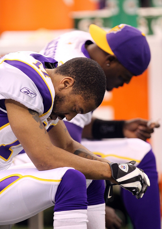 Greg Lewis (#17) of the Minnesota Vikings sits on the bench towards the end of the game against the New Orleans Saints during the NFC Championship Game at the Louisiana Superdome on January 24, 2010 in New Orleans, Louisiana. photo appears courtesy of   Getty Images  / Ronald  Martinez  ...........