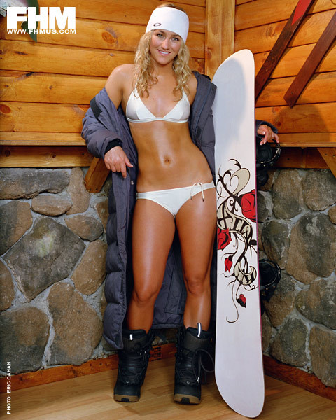Gretchen  Blieler   US  snowboarder and  an  Olympic medalist.  <strong> Will  you be  watching   if she's  dressed  likes  this  on  the slopes  ?  </strong>   photo  appears  courtesy of   FHM