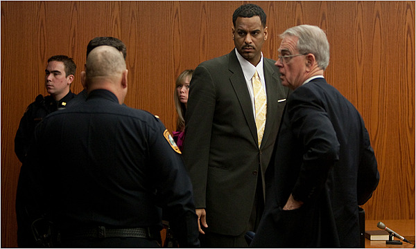 Former  NBA star,  Jayson  Williams  is seen  here   with  his  attorney  after the  court  deliberations  in  his   trial.  The  player was  sentenced to  18 months  in  prison  for  the  wrongful  death  of   his   former  limo  driver  Costas  'Gus' Christofi.    The incident  took  place  in  March  of  2002  and   with there  being  two  intervening  trials  since  the  incident  Williams is  finally  willing to  accept responsibility  in the  death  of  the  victim.   A  civil  settlement   was   paid  to  Christofi's   family   which   was   privately  agreed  to   out of court in which  the  family was  paid  $ 2 million for  Christofi's  death.     picture  appears   courtesy  of  nytimes.com/ Brian  Branch  Price   ....................