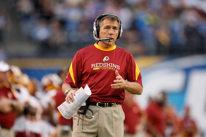 Washington Redskins head coach Jim Zorn looks on from the sideline against the San Diego Chargers at Qualcomm Stadium on January 3, 2010 in San Diego, California. The Chargers defeated the Redskins 23-20.  picture appears courtesy of Getty Images/ Jeff Gross ............