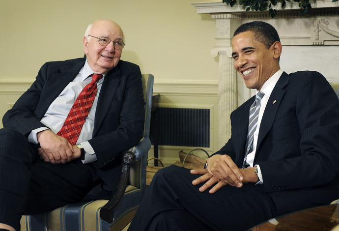 President Obama   seen  here  in  the  Oval  Office  with  former   Fed  Chairman  Paul  Volcker .   The   Obama  administration   with   Volcker  as  its  main   spearhead   will  initiate  a  number  of  reforms  meant  to  rein  in  the   financial   industry   strategically  aimed   at  the  banks  and   credit  card    companies  and  the  way  that they   go  about   conducting  their   business.  Volcker   also   sits  on  the  President's   Economic  Advisory  Board  and  offers   up   cursory  opinions   on  the   state  of  the   economy to the  President  and  Cabinet .  White  House Staff  photo/  Gerald  Martineau