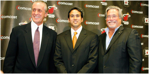 <strong>  Pat Riley (l), Erik Spoelstra , team  head coach (center) and  right  ,team owner , Micky  Arison </strong>.    Here  the  three are  seen  after  the   formal  announcement  had  been  made  that  Riley  would  return  to the front office  of  the   Miami  Heat  to  resume his  duties  as  President of  Basketball Operations   and  General Manager of the  team.   Spoelstra  would  assume  the  position  as  coach  of the  Miami   Heat.   photo  appears   courtesy of   Associated Press /  Mark   Thomas   ..............