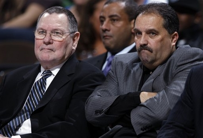 Orlando Magic assistant coach Brendan Malone, left, joins head coach Stan Van Gundy in looking on against the Denver Nuggets late in the fourth quarter of the Nuggets' 115-97 victory in an NBA basketball game in Denver on Wednesday, Jan. 13, 2010.  Were Van  Gundy  and   famed  porn  star  Ron  Jeremy  separated  at  birth ?    picture  appears   courtesy  of  ap/photo/  David  Zabulowski  ..................