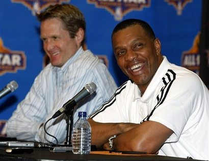 Alvin Gentry, right, smiles after being introduced as the Phoenix Suns' interim coach by general manager Steve Kerr, left, Monday, Feb. 16, 2009, in Phoenix. The NBA basketball team fired coach Terry Porter on Monday.  photo appears  courtesy of  Associated Press / Rick Scuteri  ..........