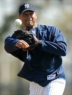 New York Yankees short stop Derek Jeter  at Tuesdays workout.  New York Yankees Spring Training 2009.   (file  picture   from  2009)   photo  appears  courtesy  of   UPI/ Jay Antonelli  .........
