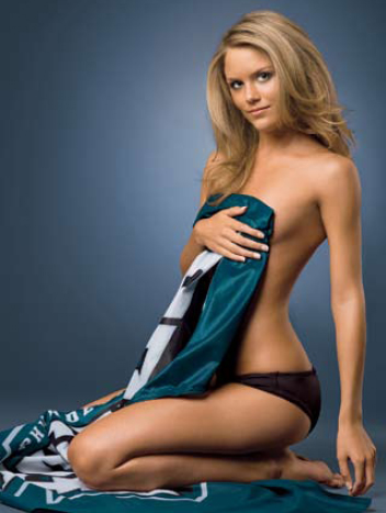 <strong><em> Julie  Stangle </em> model and   former  Eagles'  cheerleader </strong>.  Young   Julie  seems to  be  missing  her  top.  Not  that  any  of  us  would  mind  to  begin  with  !   What   do   you   think  ? Please  answer   truthfully  ?