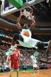 Kendrick Perkins (#43) of the Boston Celtics dunks the ball against the Cleveland Cavaliers on February 25, 2010 at the TD Garden in Boston, Massachusetts.