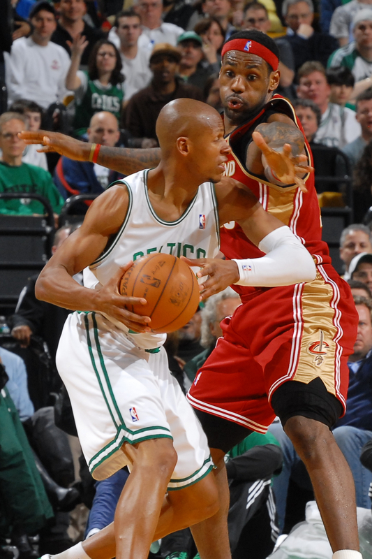 Ray Allen (#20) of the Boston Celtics looks for a play against LeBron James (#23) of the Cleveland Cavaliers on February 25, 2010 at the TD Garden in Boston, Massachusetts. photo appears courtesy of NBAE/ Getty Images/ Brian Babbineau .....