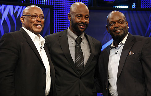 Jerry Rice, middle, and Emmitt Smith, right, are joined by fellow class of 2010 member Floyd Little after the announcement of this year's Hall of Fame selections.