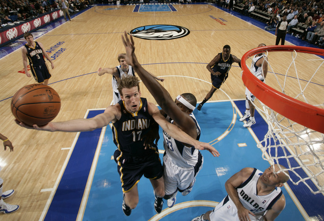 Mike Dunleavy (#17) of the Indiana Pacers goes up for the lay up against Brendan Haywood (#33) of the Dallas Mavericks during a game at the American Airlines Center on February 22, 2010 in Dallas, Texas. photo  appears  courtesy  of  NBAE/ Getty  Images/  Glenn  James  ...................
