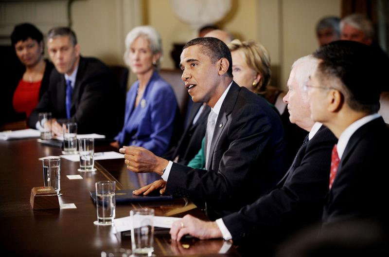 """U.S. President Barack Obama speaks during a meeting with members of the Cabinet in the Cabinet Room on September 10, 2009 at the White House in Washington. During the meeting President Obama said he accepts the apology of Congressman Joe Wilson (R-SC) for yelling out """"You Lie"""" during Obama's speech on healthcare reform to a joint session of Congress last night"""