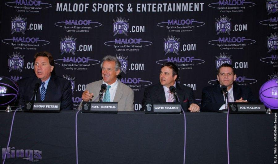 Kings' GM Geoff Petrie   seated  alongside team  coach Paul  Westphal  and  the  team's  owners  Gavin  &  Joe  Maloof.   photo  appears  courtesy  of  Associated  Press/   Ryan Murphy  ............