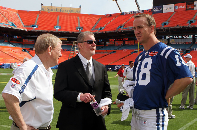 (Left to right) General manager Bill Polian, team owner Jim Irsay and Peyton Manning (#18) of the Indianapolis Colts look on during Super Bowl XLIV Media Day at Sun Life Stadium on February 2, 2010 in Miami Gardens, Florida.  photo  appears  courtesy  of  Getty  Images/  Doug Benc  ..........