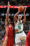 Rajon Rondo (#9) of the Boston Celtics shoots over LeBron James #23 of the Cleveland Cavaliers on February 25, 2010 at the TD Garden in Boston, Massachusetts.