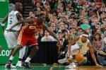 Rajon Rondo (#9) of the Boston Celtics hustles for the ball against J.J. Hickson (#21) of the Cleveland Cavaliers on February 25, 2010 at the TD Garden in Boston, Massachusetts.