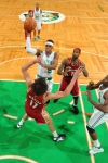 BOSTON - FEBRUARY 25: Rajon Rondo (#9) of the Boston Celtics looks to shoot the ball against Anderson Varejao (#17) of the Cleveland Cavaliers on February 25, 2010 at the TD Garden in Boston, Massachusetts.