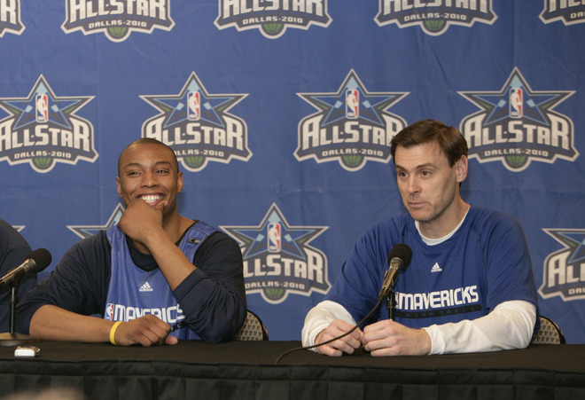 Dallas -February  15th ,2010. New Dallas Mavericks player <strong>Caron Butler </strong>(l) and Mavericks' head coach Rick Carlisle appear at a news conference at the American Airlines Center in Dallas, Texas. photo appears  courtesy  of  NBAE/Getty  Images/  Glenn James  .........