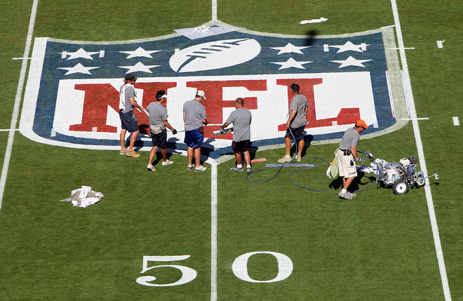 MIiami  Grounds crews prepare the field for the Super Bowl at Sun Life Stadium February 6, 2010 in Miami, Florida. <strong>Super Bowl XLIV (SB XLIV) </strong> between the Indianapolis Colts and the New Orleans Saints will be held tomorrow, Sunday February 7, 2010.  photo appears  courtesy  of  Getty Images/ Win McNamee  .......