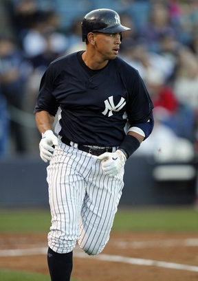 New York Yankees' Alex Rodriguez watches his fly-out in the first inning of a spring training baseball game against the Philadelphia Phillies, Friday, March 26, 2010, in Tampa, Fla. photo  appears  courtesy of  Assoc  Press  / Mike Carlson  ....